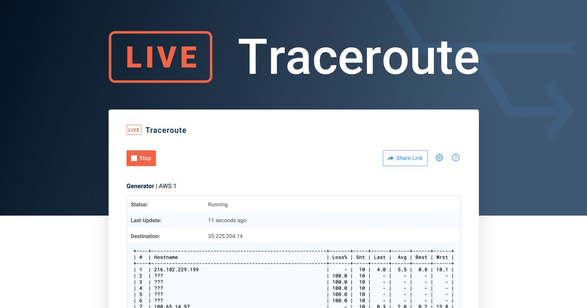 Live Traceroutes Feature